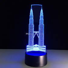 2017 petronas twin towers 3d optical illusion lamp night light dc