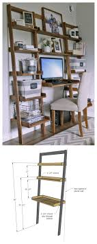 Ladder Office Desk White Leaning Wall Ladder Desk Diy Projects