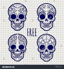 mexican sugar calavera skulls on notebook stock vector 668143060