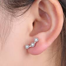 diamond cartilage piercing new cartilage piercing silver wave lightning earring ear stud