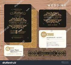 Traditional Wedding Invitation Cards Vintage Classic Wedding Invitation Set Design Stock Vector