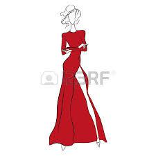 vector fashion sketch beautiful model standing in long orange