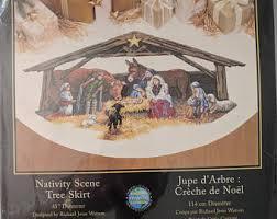 nativity tree skirt etsy