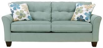 Two Cushion Sofa by Signature Design By Ashley Kylee Lagoon Buttonless Tufted Two