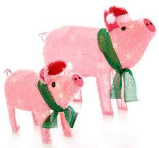 Big Lots Outdoor Christmas Decorations by Amazon Com Light Up Holiday Pigs Statues 2 Piece Set Patio