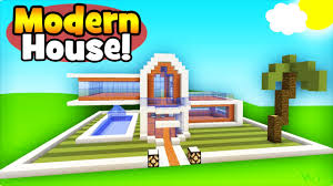 minecraft tutorial how to make a simple modern house youtube