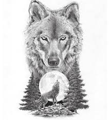 big wolf muzzle and wolf howling on moon design