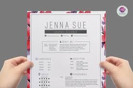 Floral Designer Resume Feminine Resume Template Resume Templates On Thehungryjpeg Com