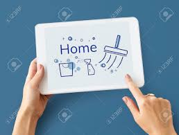 illustration of home cleaning service on digital tablet stock
