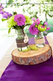rustic purple wedding centerpiece idea monogram mason jars