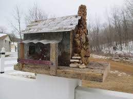 birdhouse reclaimed barn wood tiny cabin in the woods real
