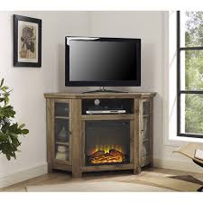 corner tv cabinet with electric fireplace barnwood 48 inch corner fireplace tv stand corner fireplace tv