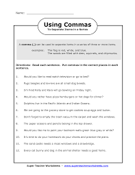 Fourth Grade Language Arts Worksheets Comma In A Series Worksheets Image Commas In A Series Worksheet