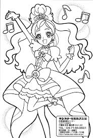 cure lovely precure anime coloring pages
