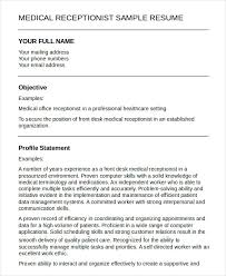 Resume Sample For Doctors by Medical Receptionist Resume Template 5 Free Sample Example