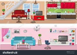 set colorful vector interior design house stock vector 518566678 set of colorful vector interior design house rooms with furniture icons living room and kitchen