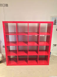 white high gloss bookcase ikea kallax 4x4 high gloss red shelving unit in wilmslow