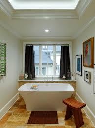 fresh flower decor near window in bathroom with modern high plus