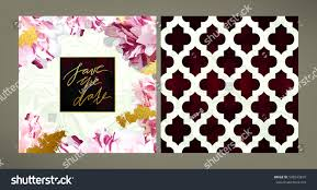 set trendy vector wedding invitation template stock vector