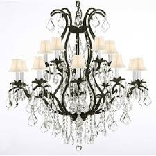 Iron Chandelier With Crystals 15 Lights Ceiling Lights For Less Overstock Com