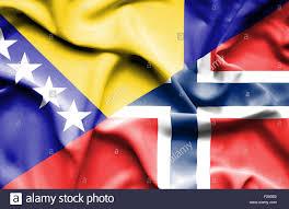 Flag Of Bosnia Waving Flag Of Norway And Bosnia And Herzegovina Stock Photo