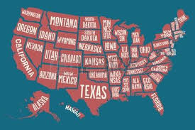 map of us states poster poster map of united states of america with state names print