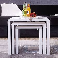 White Side Tables For Living Room Uenjoy High Gloss Nest Of Coffee Table Side Table Living Room