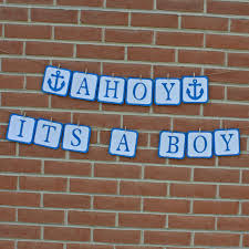 Nautical Themed Baby Shower Banner - ahoy its a boy