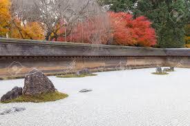 Ryoanji Rock Garden Japanese Landscape Rock Garden In Autumn At Ryoanji Or Ryoan