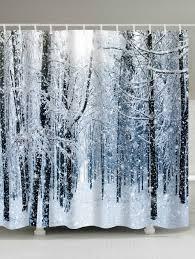 bath products cheap bathroom accessories sets onlie sale christmas snow forest print waterproof bath curtain