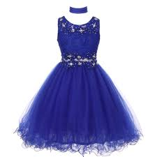 dress blue big royal blue lace mesh rhinestone wired flower girl dress