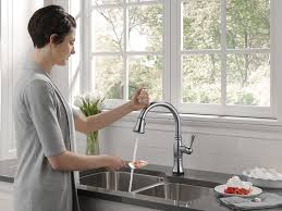 touch faucets kitchen delta faucet happi mess