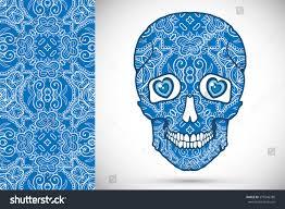 halloween background sugar skulls day dead sugar skull doodle ornament stock vector 570346780