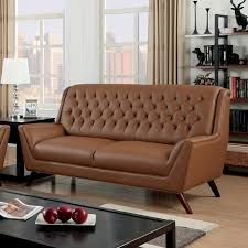 Leather Button Sofa Furniture Of America Camel Bonded Leather Button Tufted Sofa