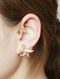 ear stud and pegasus ear stud and cuff earring in silver gold or