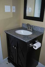 Small Vanity Bathroom Gray Wall Paint Gray Granite Countertop Mounted Washbasin
