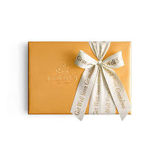 personalized cracker boxes assorted chocolate gold gift box 36 pc personalized ivory ribbon