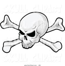 vector clip art of a skull and crossbones pirate flag logo by