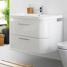 Ultra Bathroom Furniture Ultra Bias Wall Mounted Basin Unit W900 X D500mm White Gloss