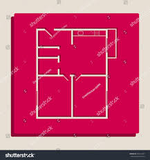 Modern Pop Art Style Apartment by Apartment House Floor Plans Vector Grayscale Stock Vector