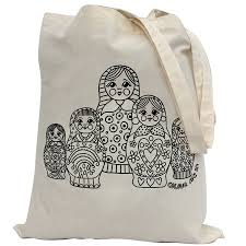 colour in russian doll tote bag by pink pineapple home u0026 gifts