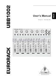 user u0027s manual for music mixer behringer eurorack ubb1002 download