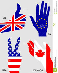 Flag Of The Uk Hands National Flags Of The European Union Canada The Usa And