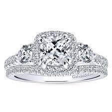 cushion diamond ring 14k white gold cushion cut 3 stones halo engagement ring