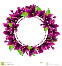 lilac flower round frame stock vector image 50312538