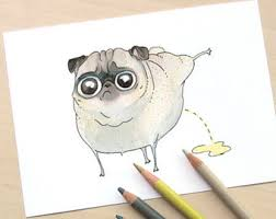 Items Similar To Art Print - saucy pug art print funny art for kitchen food art with