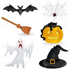 halloween icon pumpkin hat bat spider broom ghost royalty