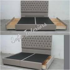Tufted Bed With Storage Tufted Headboard With Custom Made Bed Frame With Pullout Drawers