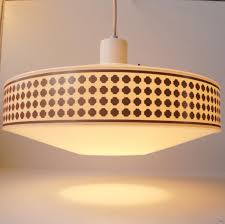 mid century pendant lamp with geometric copper patterns from