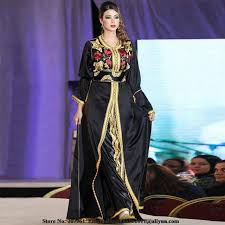 elegant kaftan arabic evening dresses 2017 black beaded high neck